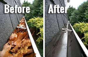 Before and After Cleaning the Gutters